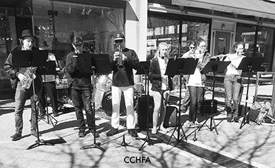 Jazz Band performing on the McKinney square.